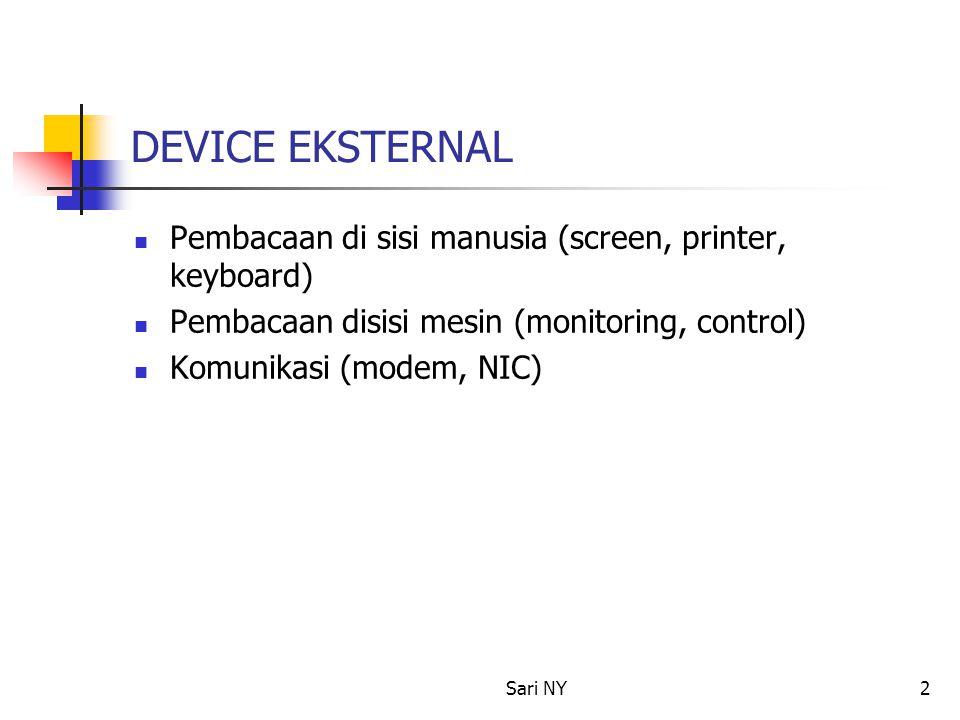 Sari NY2 DEVICE EKSTERNAL Pembacaan di sisi manusia (screen, printer, keyboard) Pembacaan disisi mesin (monitoring, control) Komunikasi (modem, NIC)