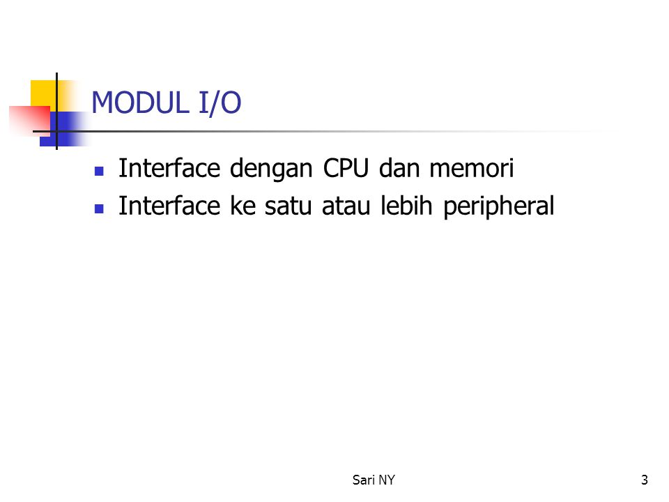Sari NY3 MODUL I/O Interface dengan CPU dan memori Interface ke satu atau lebih peripheral