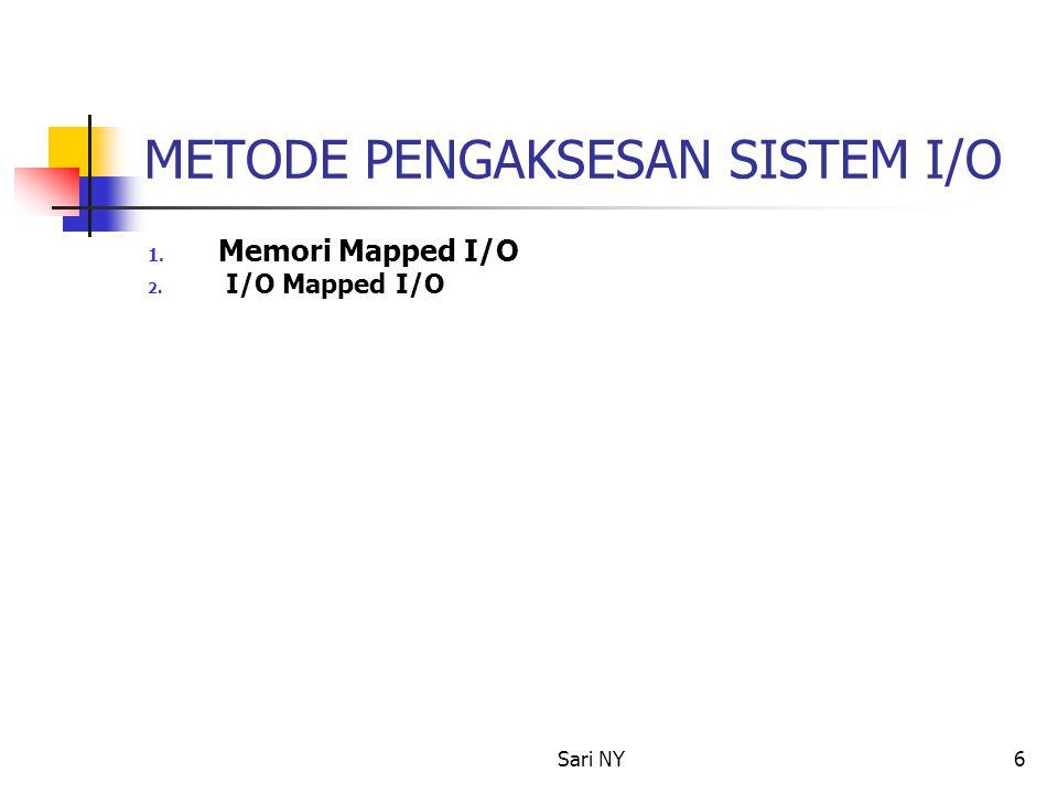 Sari NY6 METODE PENGAKSESAN SISTEM I/O 1. Memori Mapped I/O 2. I/O Mapped I/O