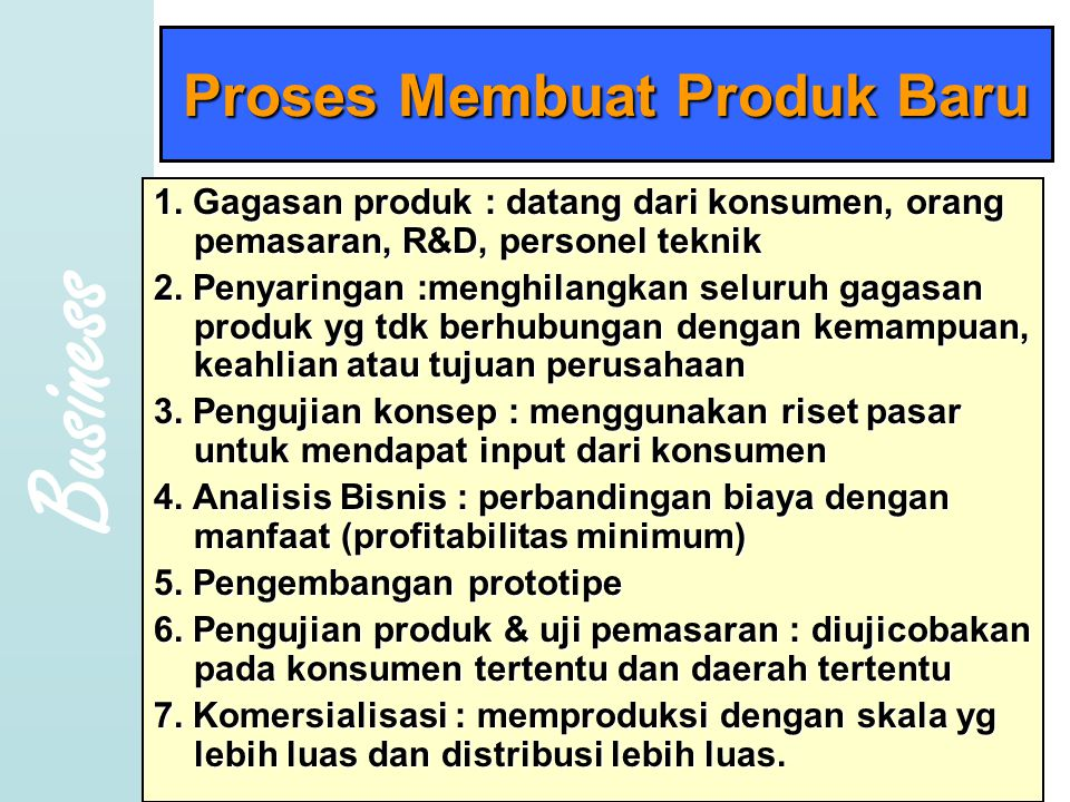 Business Copyright 2005 Prentice- Hall, Inc Proses Membuat Produk Baru 1.