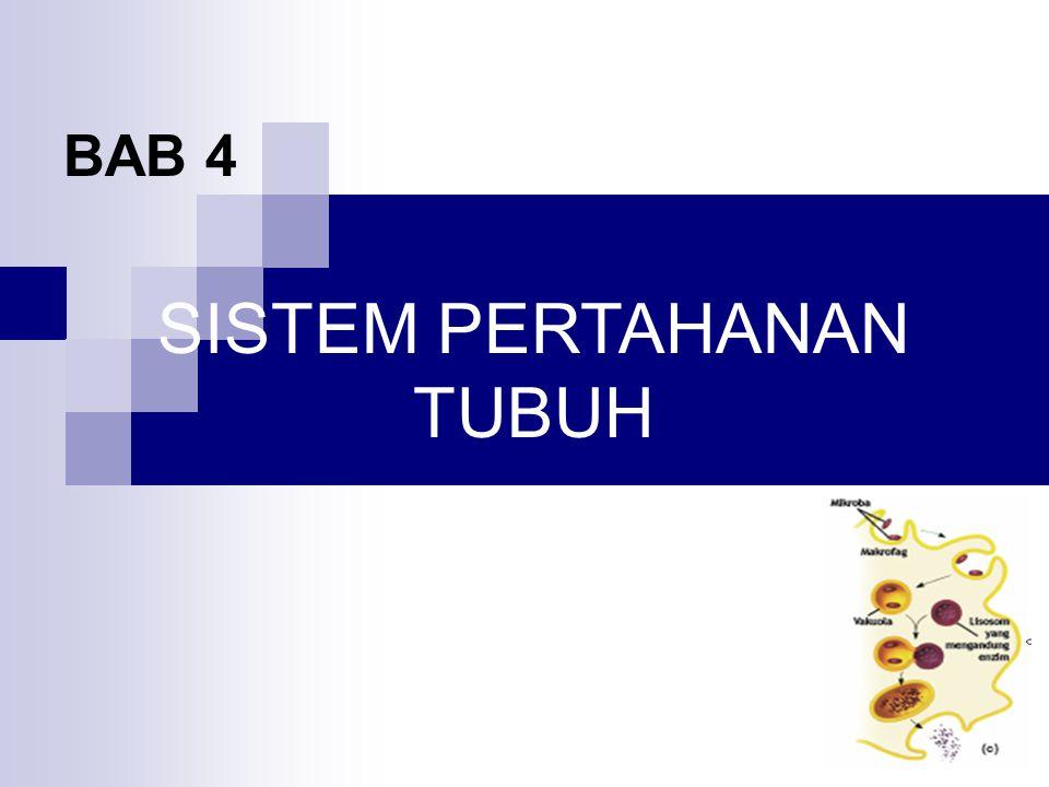 BAB 11 SISTEM PERTAHANAN TUBUH SK : Menjelaskan struktur dan fungsi manusia dan hewan tertentu kelainan dan atau penyakit yang mungkin terjadi serta implikasinya pada salingtemas serta implikasinya pada salingtemas KD : menjelaskan mekanisme pertahanan tubuh terhadap benda asing berupa antigen dan bibit penyakit