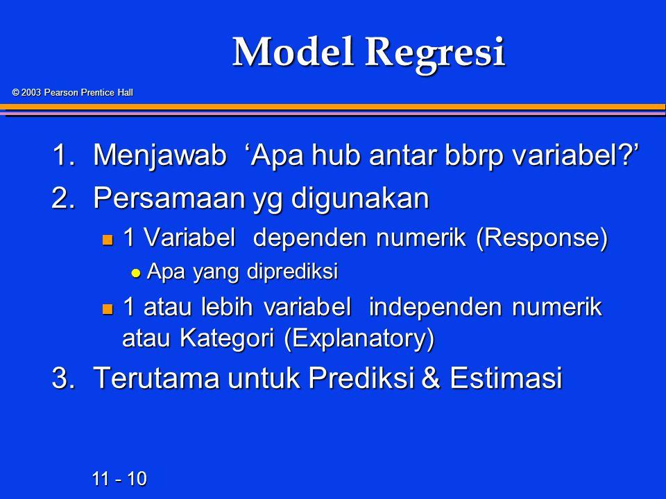 11 - 10 © 2003 Pearson Prentice Hall Model Regresi 1.Menjawab 'Apa hub antar bbrp variabel ' 2.Persamaan yg digunakan 1 Variabel dependen numerik (Response) 1 Variabel dependen numerik (Response) Apa yang diprediksi Apa yang diprediksi 1 atau lebih variabel independen numerik atau Kategori (Explanatory) 1 atau lebih variabel independen numerik atau Kategori (Explanatory) 3.Terutama untuk Prediksi & Estimasi