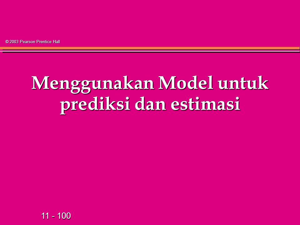 11 - 100 © 2003 Pearson Prentice Hall Menggunakan Model untuk prediksi dan estimasi