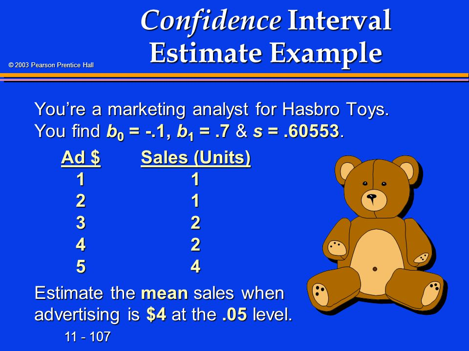 11 - 107 © 2003 Pearson Prentice Hall Confidence Interval Estimate Example You're a marketing analyst for Hasbro Toys.