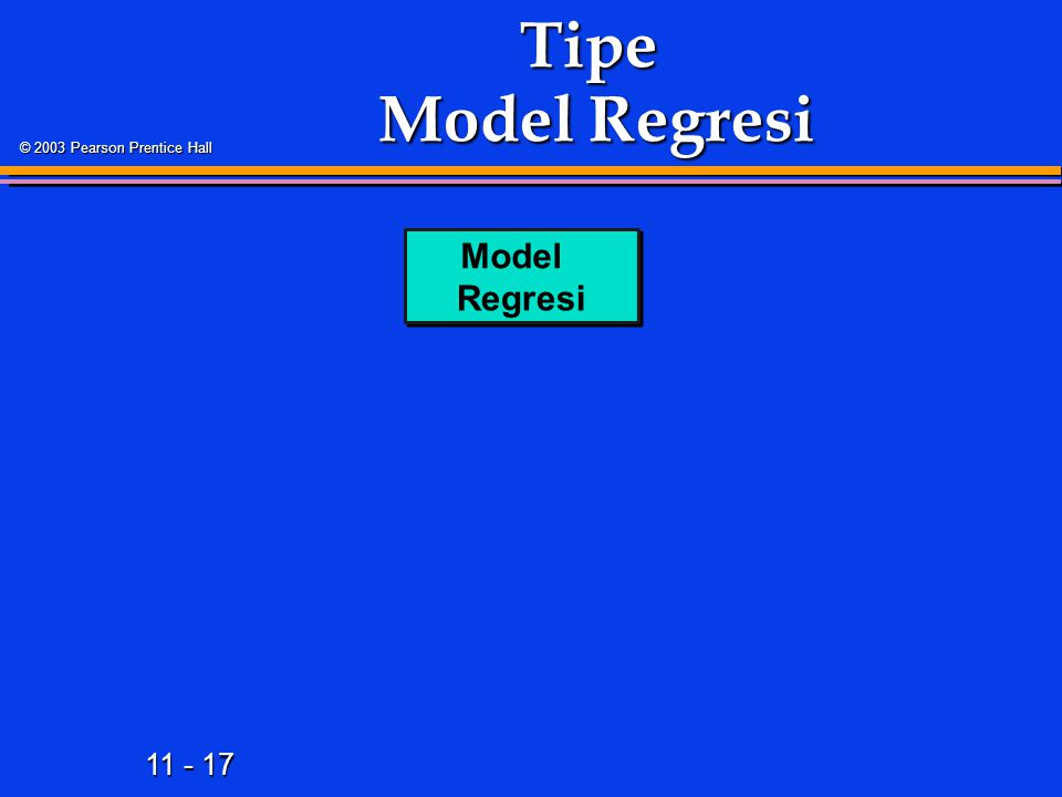 11 - 17 © 2003 Pearson Prentice Hall Tipe Model Regresi Model Regresi