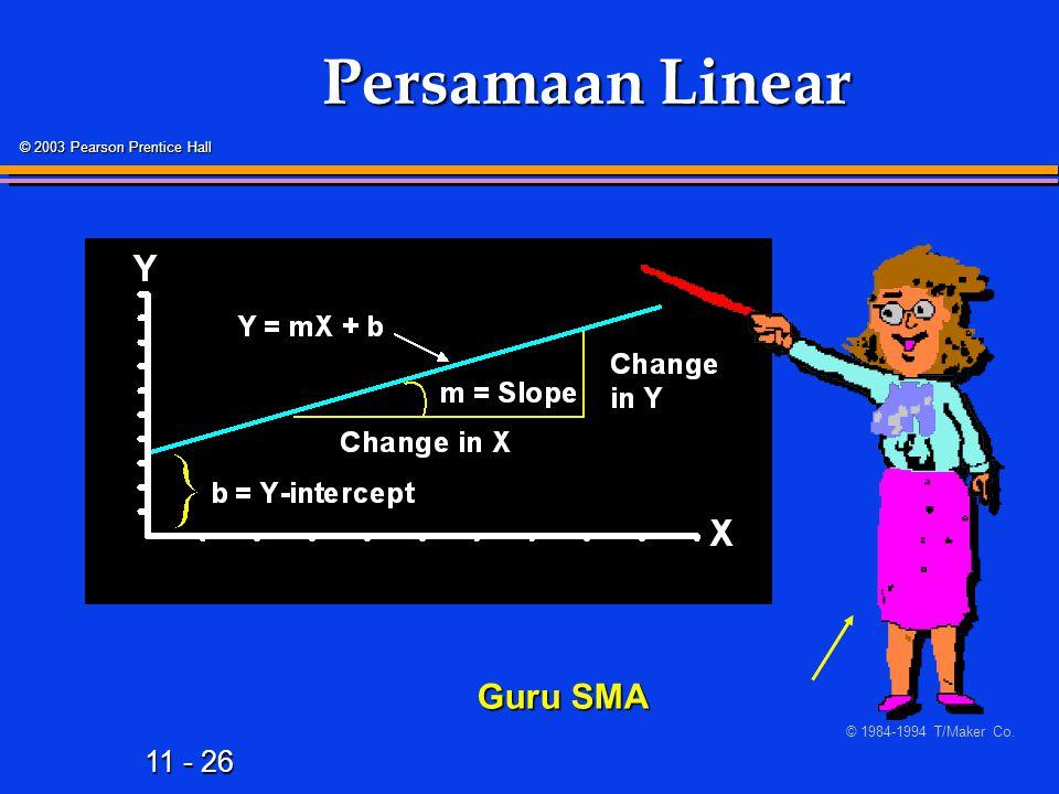 11 - 26 © 2003 Pearson Prentice Hall Persamaan Linear Guru SMA © 1984-1994 T/Maker Co.