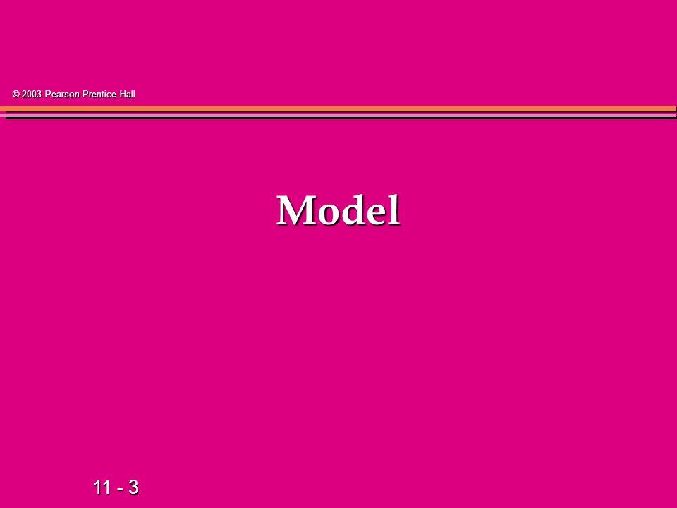 11 - 3 © 2003 Pearson Prentice Hall Model