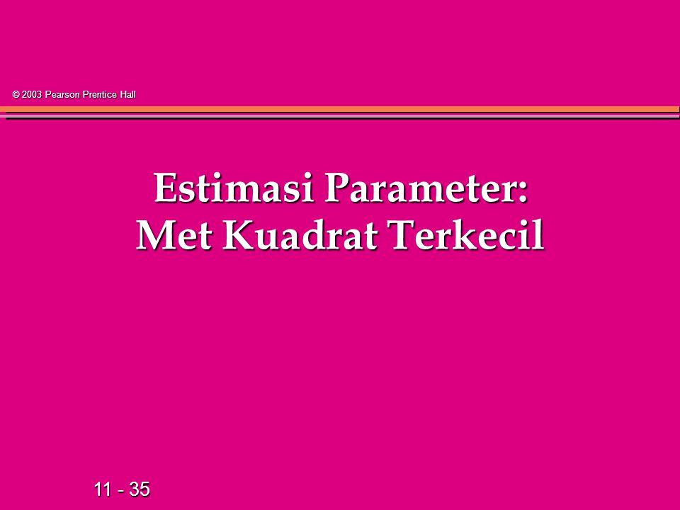11 - 35 © 2003 Pearson Prentice Hall Estimasi Parameter: Met Kuadrat Terkecil