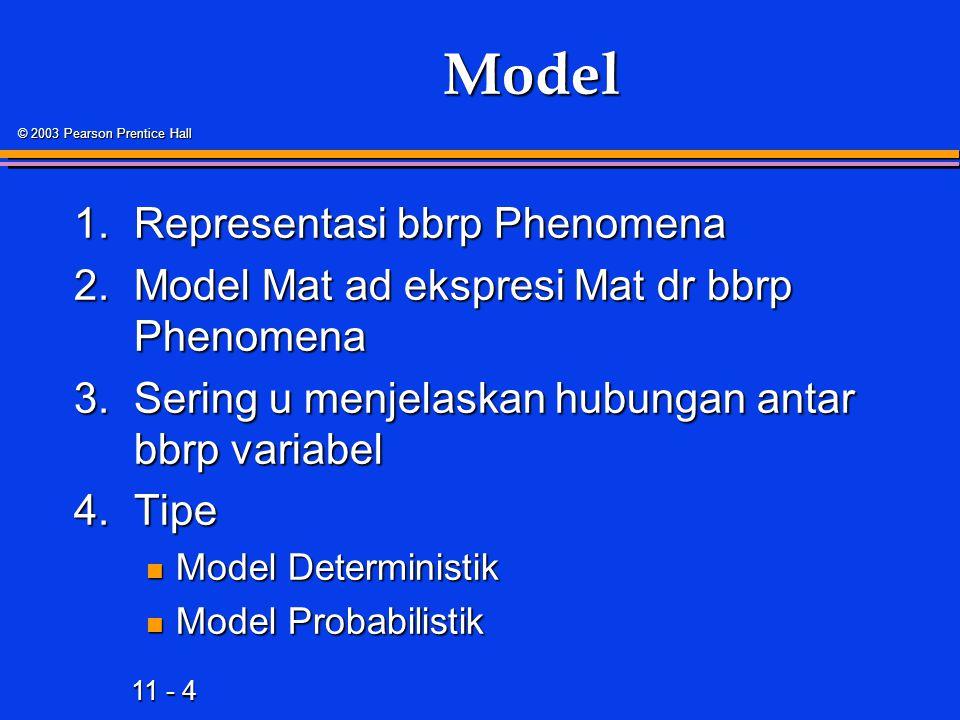 11 - 4 © 2003 Pearson Prentice Hall Model 1.Representasi bbrp Phenomena 2.Model Mat ad ekspresi Mat dr bbrp Phenomena 3.Sering u menjelaskan hubungan antar bbrp variabel 4.Tipe Model Deterministik Model Deterministik Model Probabilistik Model Probabilistik
