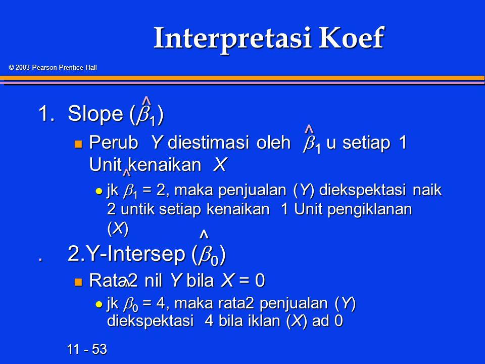 11 - 53 © 2003 Pearson Prentice Hall Interpretasi Koef 1.Slope (  1 ) Perub Y diestimasi oleh  1 u setiap 1 Unit kenaikan X Perub Y diestimasi oleh  1 u setiap 1 Unit kenaikan X jk  1 = 2, maka penjualan (Y) diekspektasi naik 2 untik setiap kenaikan 1 Unit pengiklanan (X) jk  1 = 2, maka penjualan (Y) diekspektasi naik 2 untik setiap kenaikan 1 Unit pengiklanan (X).2.Y-Intersep (  0 ) Rata2 nil Y bila X = 0 Rata2 nil Y bila X = 0 jk  0 = 4, maka rata2 penjualan (Y) diekspektasi 4 bila iklan (X) ad 0 jk  0 = 4, maka rata2 penjualan (Y) diekspektasi 4 bila iklan (X) ad 0 ^ ^ ^ ^ ^