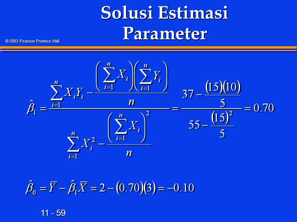 11 - 59 © 2003 Pearson Prentice Hall Solusi Estimasi Parameter