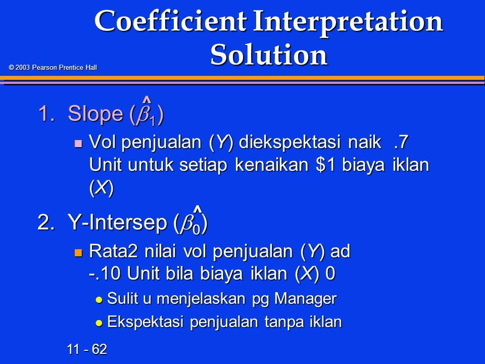 11 - 62 © 2003 Pearson Prentice Hall Coefficient Interpretation Solution 1.Slope (  1 ) Vol penjualan (Y) diekspektasi naik.7 Unit untuk setiap kenaikan $1 biaya iklan (X) Vol penjualan (Y) diekspektasi naik.7 Unit untuk setiap kenaikan $1 biaya iklan (X) 2.Y-Intersep (  0 ) Rata2 nilai vol penjualan (Y) ad -.10 Unit bila biaya iklan (X) 0 Rata2 nilai vol penjualan (Y) ad -.10 Unit bila biaya iklan (X) 0 Sulit u menjelaskan pg Manager Sulit u menjelaskan pg Manager Ekspektasi penjualan tanpa iklan Ekspektasi penjualan tanpa iklan ^ ^