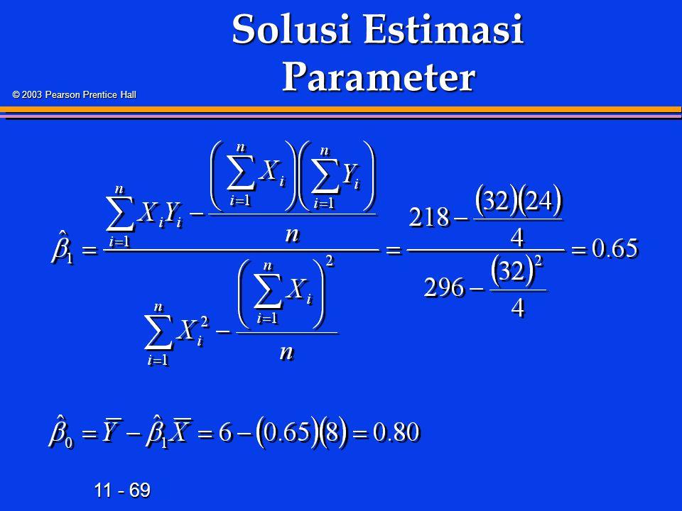 11 - 69 © 2003 Pearson Prentice Hall Solusi Estimasi Parameter
