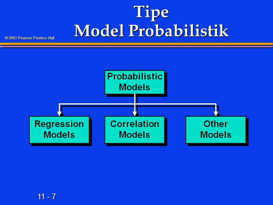 11 - 7 © 2003 Pearson Prentice Hall Tipe Model Probabilistik