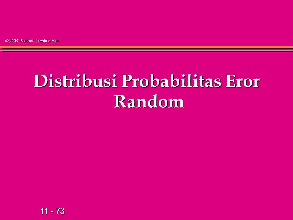 11 - 73 © 2003 Pearson Prentice Hall Distribusi Probabilitas Eror Random