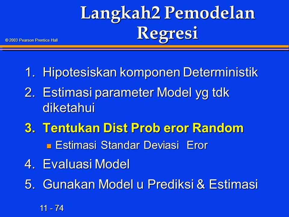 11 - 74 © 2003 Pearson Prentice Hall Langkah2 Pemodelan Regresi 1.Hipotesiskan komponen Deterministik 2.Estimasi parameter Model yg tdk diketahui 3.Tentukan Dist Prob eror Random Estimasi Standar Deviasi Eror Estimasi Standar Deviasi Eror 4.Evaluasi Model 5.Gunakan Model u Prediksi & Estimasi