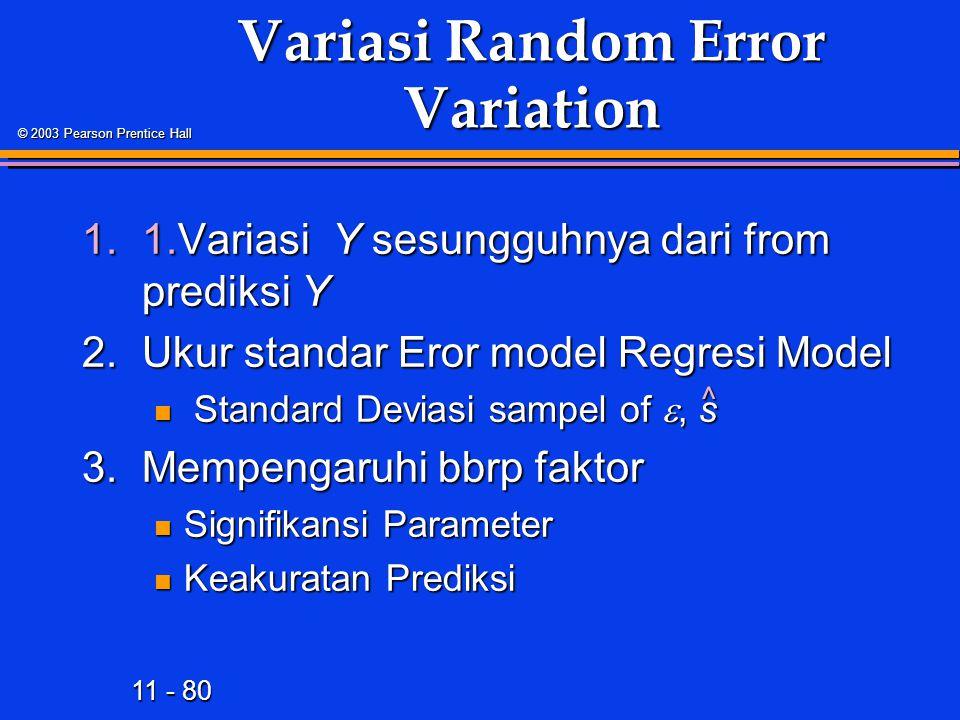 11 - 80 © 2003 Pearson Prentice Hall Variasi Random Error Variation 1.1.Variasi Y sesungguhnya dari from prediksi Y 2.Ukur standar Eror model Regresi Model Standard Deviasi sampel of , s Standard Deviasi sampel of , s 3.