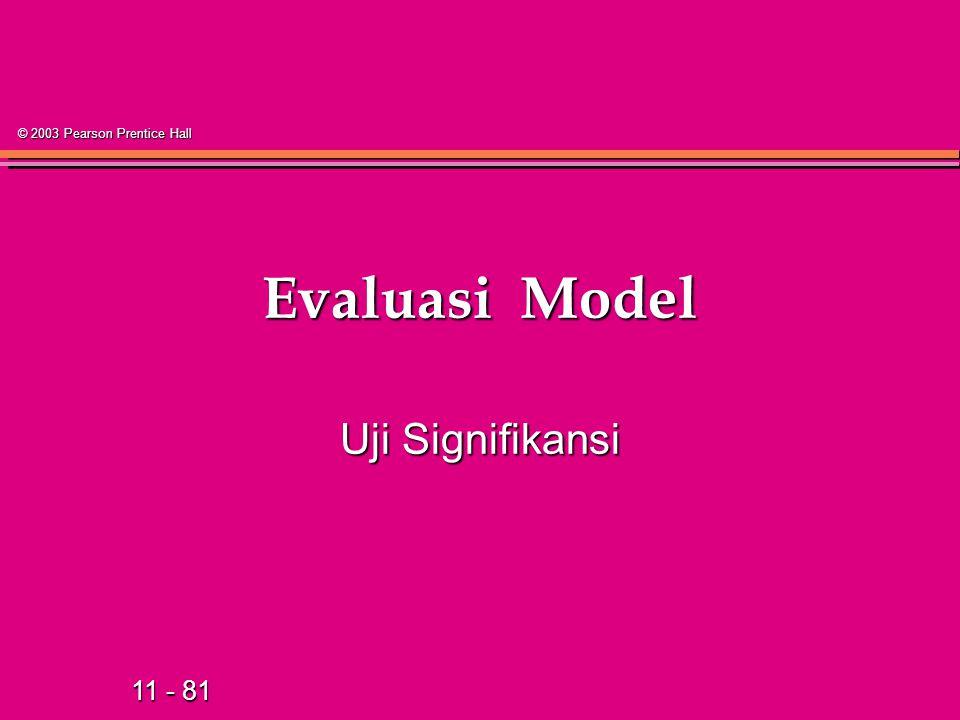 11 - 81 © 2003 Pearson Prentice Hall Evaluasi Model Uji Signifikansi