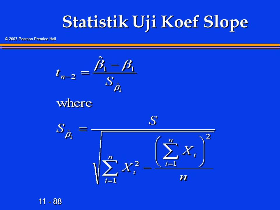 11 - 88 © 2003 Pearson Prentice Hall Statistik Uji Koef Slope