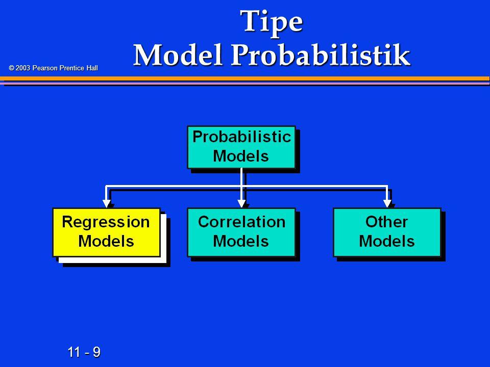 11 - 9 © 2003 Pearson Prentice Hall Tipe Model Probabilistik
