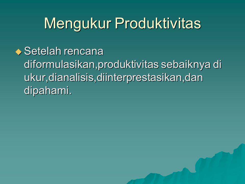 Mengukur Produktivitas  Setelah rencana diformulasikan,produktivitas sebaiknya di ukur,dianalisis,diinterprestasikan,dan dipahami.