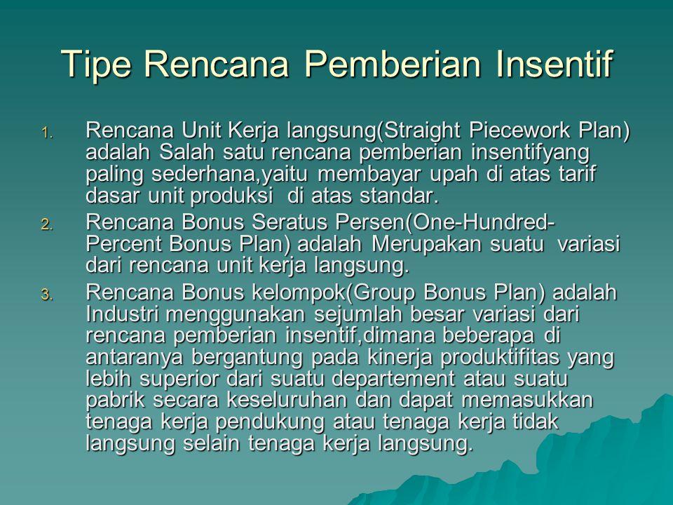 Tipe Rencana Pemberian Insentif 1.