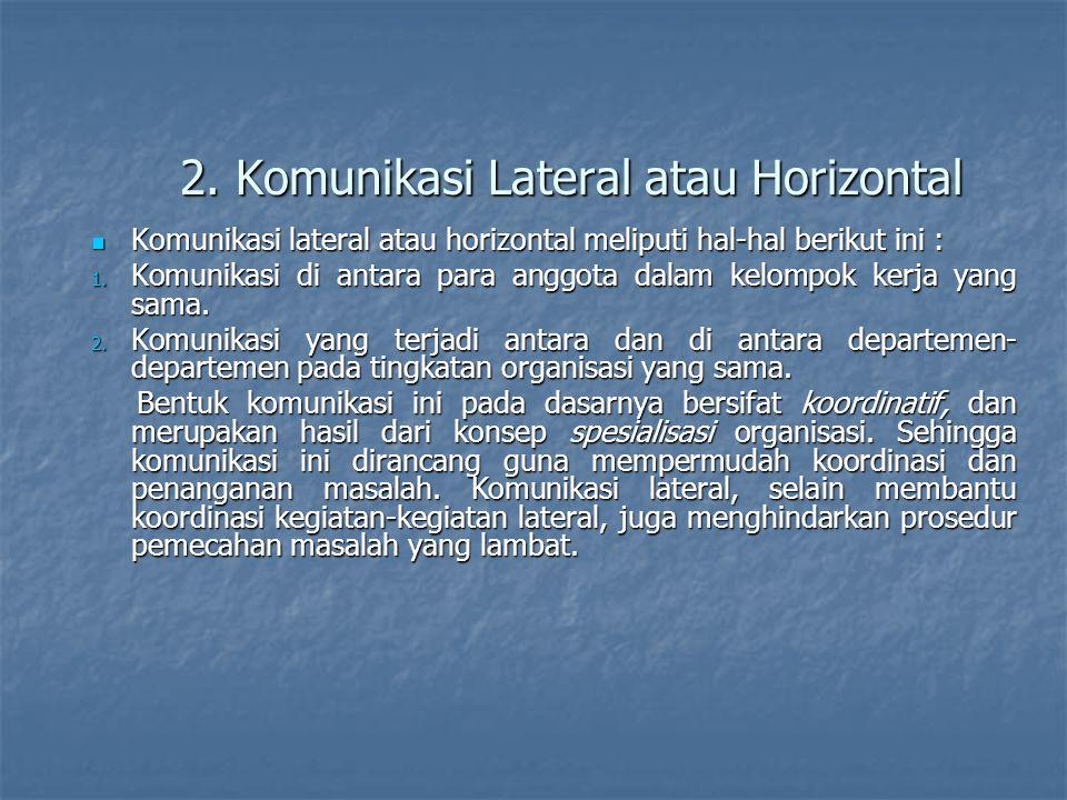 2. Komunikasi Lateral atau Horizontal Komunikasi lateral atau horizontal meliputi hal-hal berikut ini : Komunikasi lateral atau horizontal meliputi ha