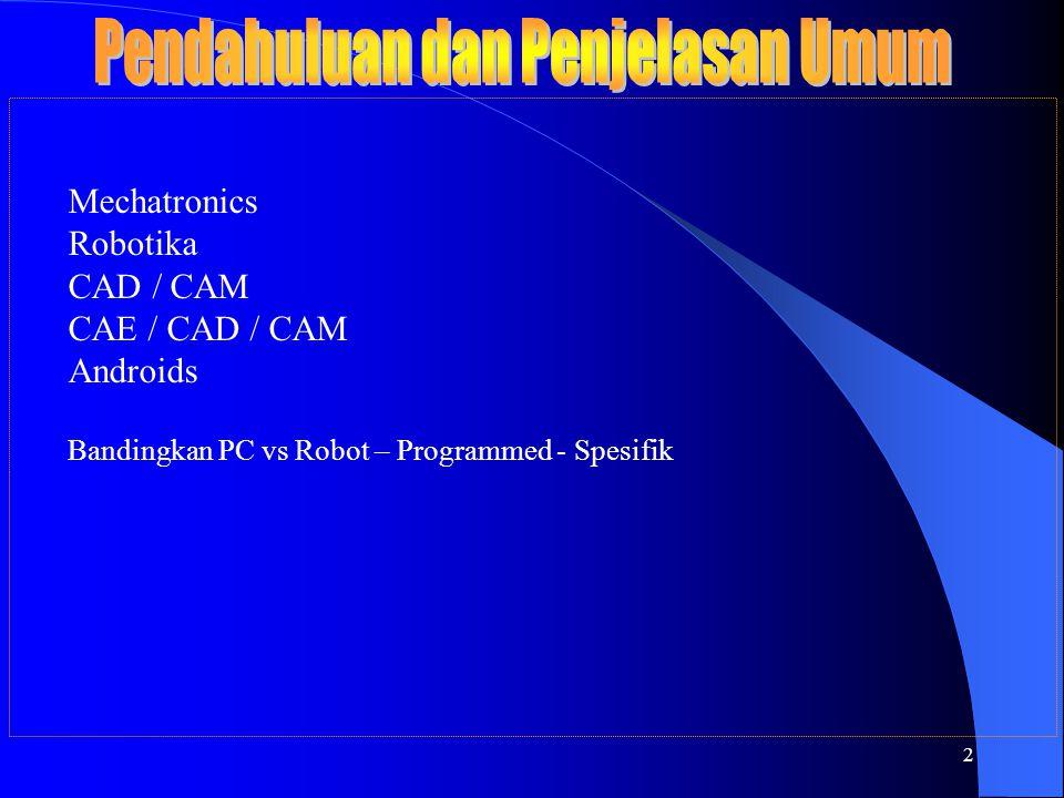 2 Mechatronics Robotika CAD / CAM CAE / CAD / CAM Androids Bandingkan PC vs Robot – Programmed - Spesifik