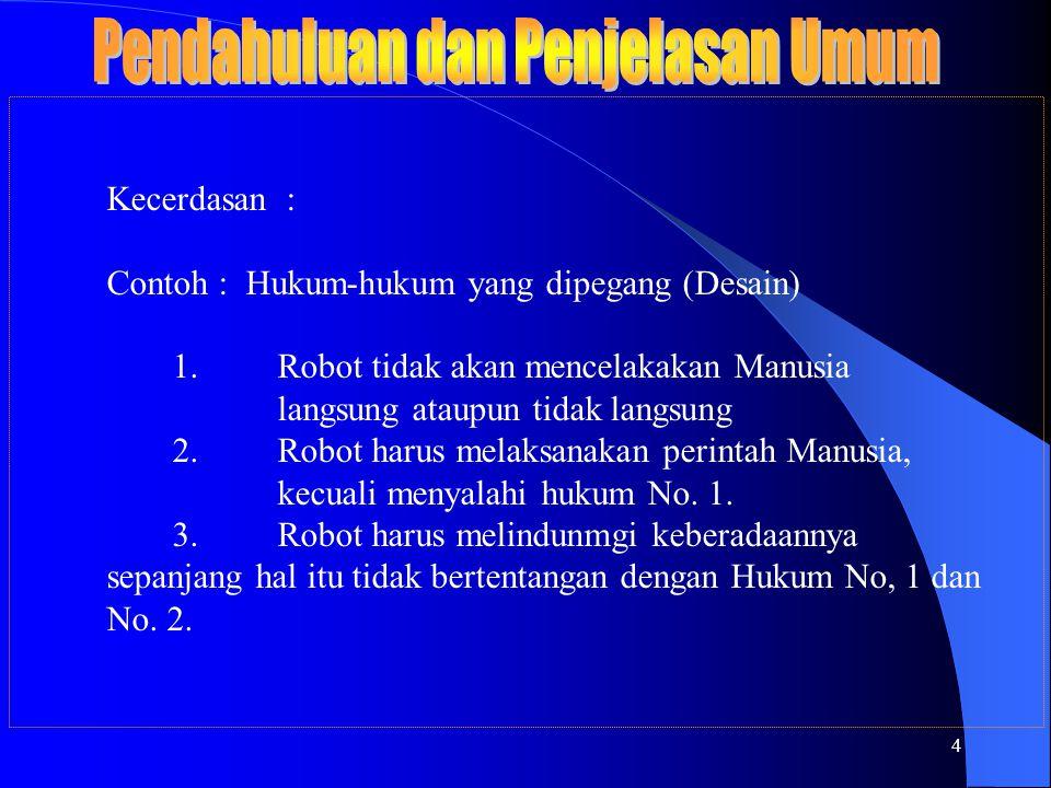4 Kecerdasan : Contoh : Hukum-hukum yang dipegang (Desain) 1.Robot tidak akan mencelakakan Manusia langsung ataupun tidak langsung 2.Robot harus melaksanakan perintah Manusia, kecuali menyalahi hukum No.