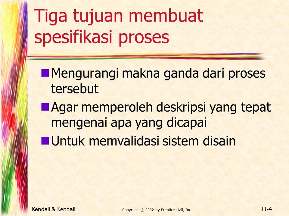 Kendall & Kendall Copyright © 2002 by Prentice Hall, Inc. 11-4 Tiga tujuan membuat spesifikasi proses Mengurangi makna ganda dari proses tersebut Agar