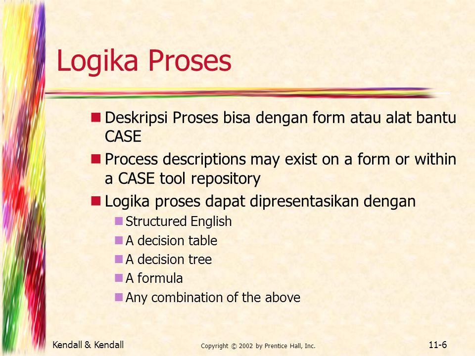 Kendall & Kendall Copyright © 2002 by Prentice Hall, Inc. 11-6 Logika Proses Deskripsi Proses bisa dengan form atau alat bantu CASE Process descriptio