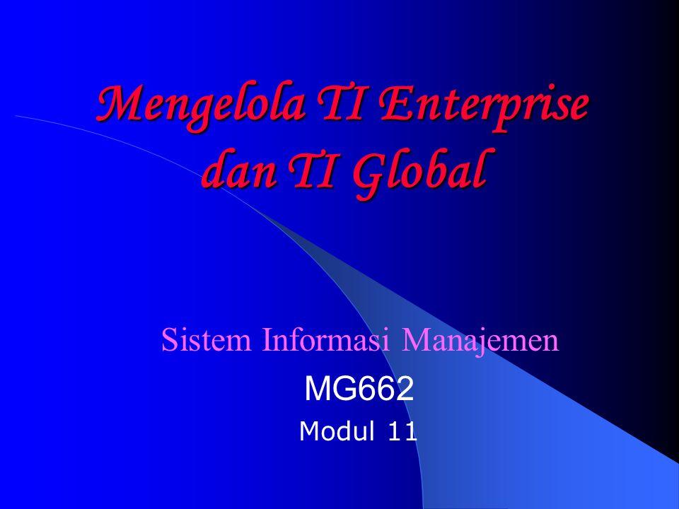 Strategi Internasional (II) Karakteristik TI – Standalone system – Desentralisasi tanpa standar – Sangat tergantung pada tampilan muka (interface) – Multiple sistem, tingginya redundansi dan duplikasi dalam layanan dan operasi – Kurangnya keseragaman sistem dan data