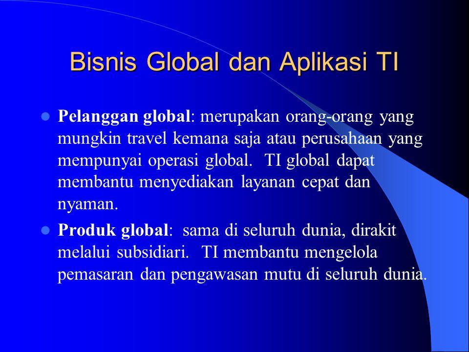 Bisnis Global dan Aplikasi TI Pelanggan global: merupakan orang-orang yang mungkin travel kemana saja atau perusahaan yang mempunyai operasi global. T