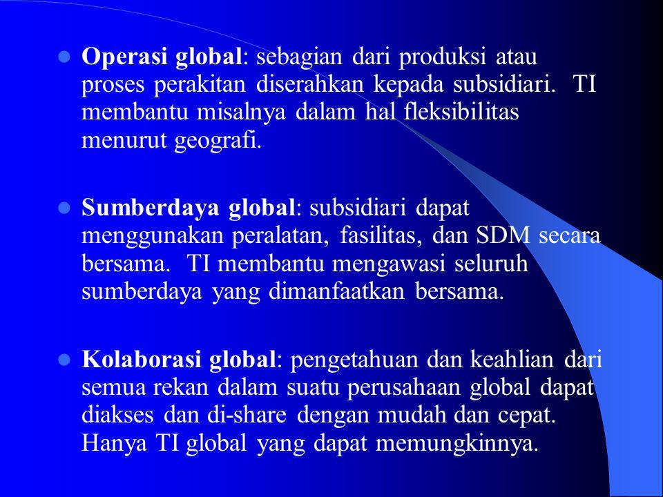 Operasi global: sebagian dari produksi atau proses perakitan diserahkan kepada subsidiari. TI membantu misalnya dalam hal fleksibilitas menurut geogra