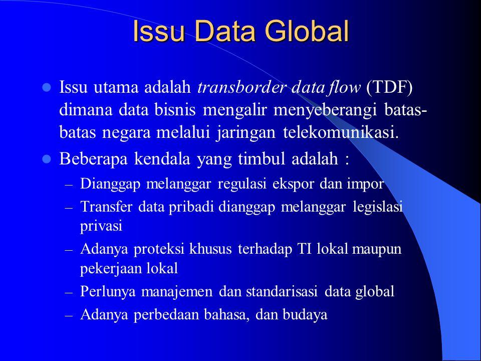 Issu Data Global Issu utama adalah transborder data flow (TDF) dimana data bisnis mengalir menyeberangi batas- batas negara melalui jaringan telekomun