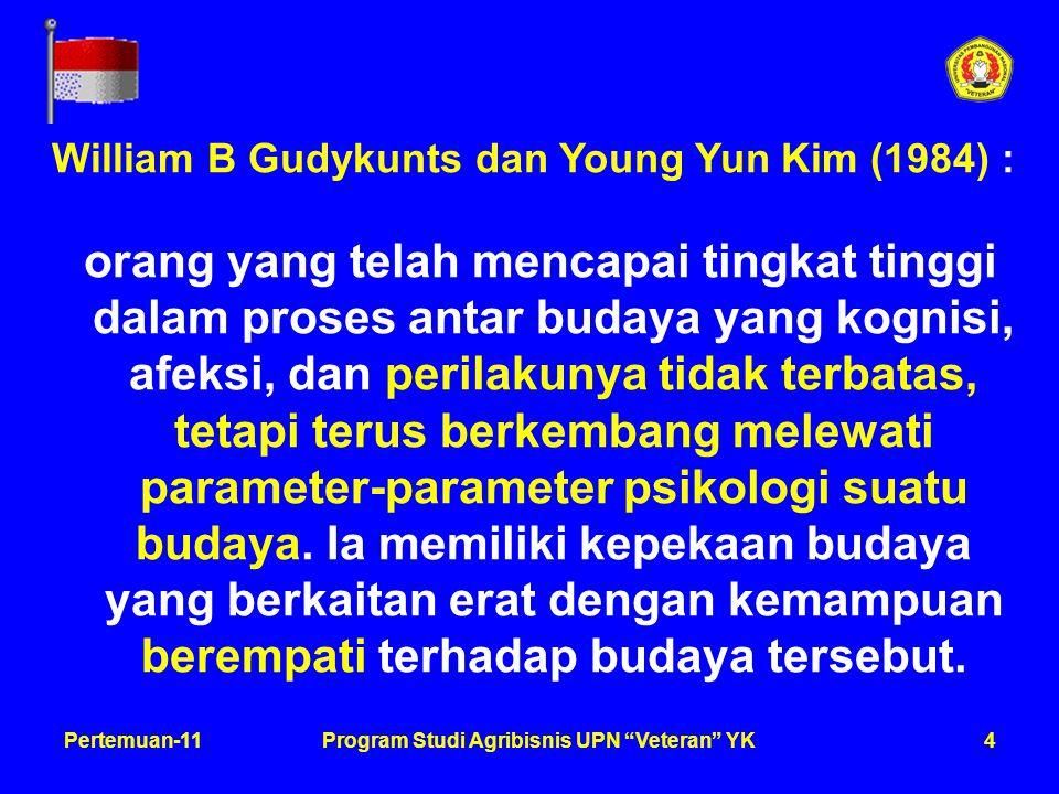 4Pertemuan-11Program Studi Agribisnis UPN Veteran YK William B Gudykunts dan Young Yun Kim (1984) : orang yang telah mencapai tingkat tinggi dalam proses antar budaya yang kognisi, afeksi, dan perilakunya tidak terbatas, tetapi terus berkembang melewati parameter-parameter psikologi suatu budaya.