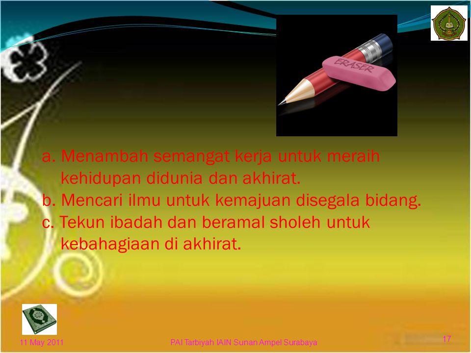 Kita harus bersemangat untuk mencapai segala yang bermanfaat dan tidak boleh merasa lemah 11 May 2011 16 PAI Tarbiyah IAIN Sunan Ampel Surabaya