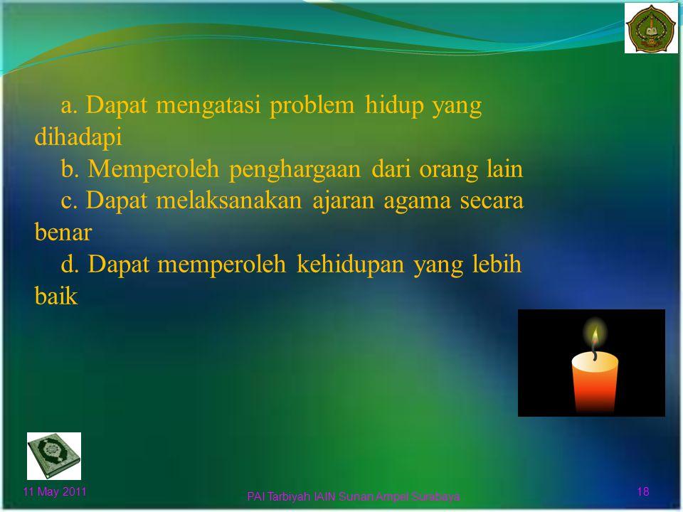 a.Menambah semangat kerja untuk meraih kehidupan didunia dan akhirat.
