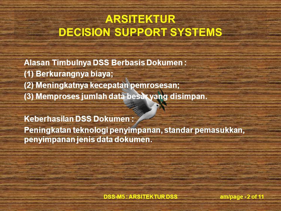 ARSITEKTUR DECISION SUPPORT SYSTEMS DSS-M5 : ARSITEKTUR DSSam/page - 2 of 11 Alasan Timbulnya DSS Berbasis Dokumen : (1) Berkurangnya biaya; (2) Meningkatnya kecepatan pemrosesan; (3) Memproses jumlah data besar yang disimpan.