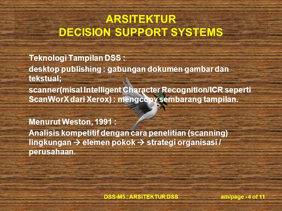 ARSITEKTUR DECISION SUPPORT SYSTEMS DSS-M5 : ARSITEKTUR DSSam/page - 4 of 11 Teknologi Tampilan DSS : desktop publishing : gabungan dokumen gambar dan tekstual; scanner(misal Intelligent Character Recognition/ICR seperti ScanWorX dari Xerox) : mengcopy sembarang tampilan.