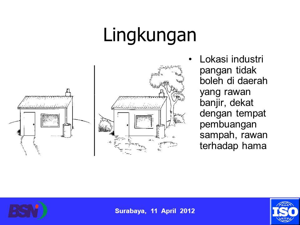Surabaya, 11 April 2012 Lingkungan Lokasi industri pangan tidak boleh di daerah yang rawan banjir, dekat dengan tempat pembuangan sampah, rawan terhad
