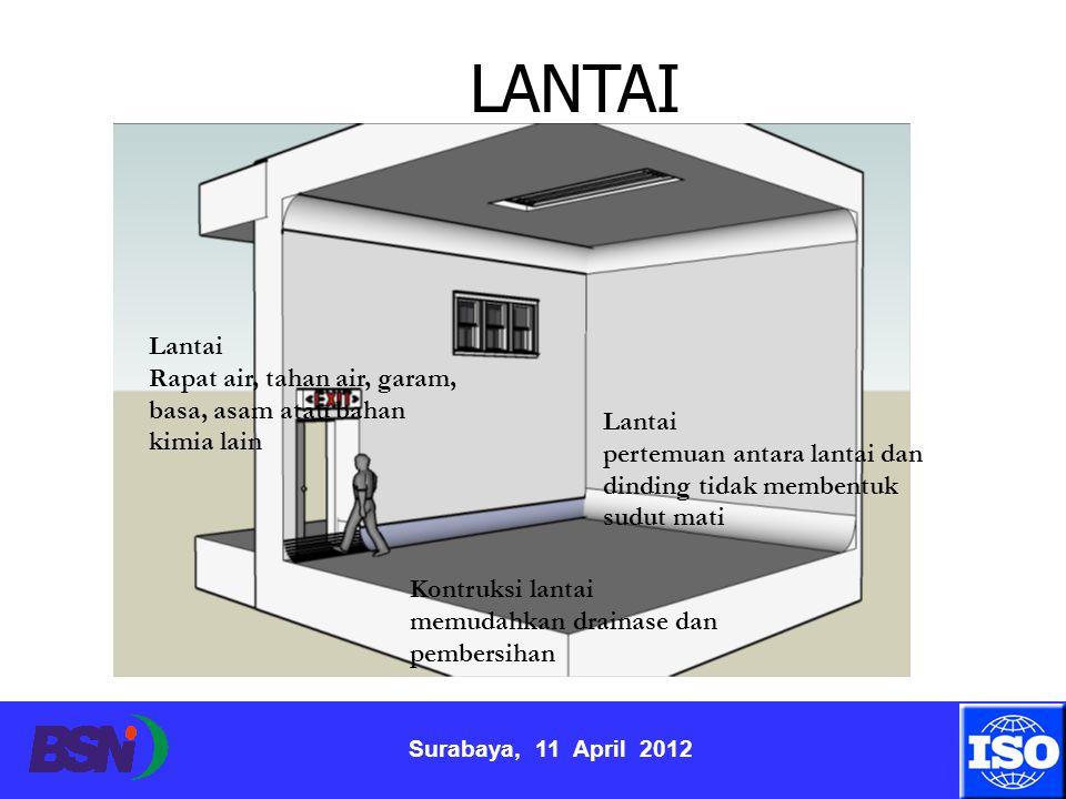 Surabaya, 11 April 2012 Lantai Rapat air, tahan air, garam, basa, asam atau bahan kimia lain Lantai pertemuan antara lantai dan dinding tidak membentu