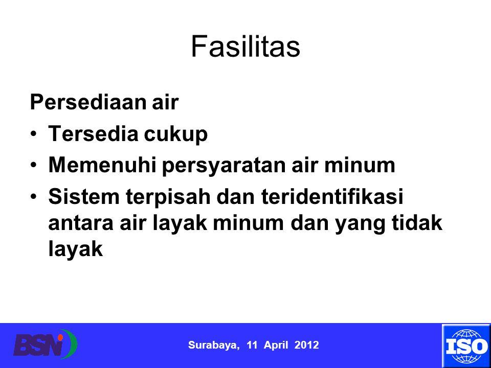 Surabaya, 11 April 2012 Fasilitas Persediaan air Tersedia cukup Memenuhi persyaratan air minum Sistem terpisah dan teridentifikasi antara air layak mi