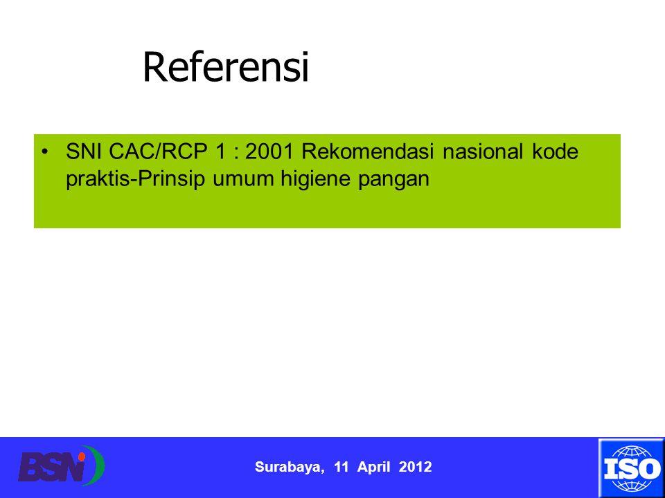 Surabaya, 11 April 2012 Referensi SNI CAC/RCP 1 : 2001 Rekomendasi nasional kode praktis-Prinsip umum higiene pangan