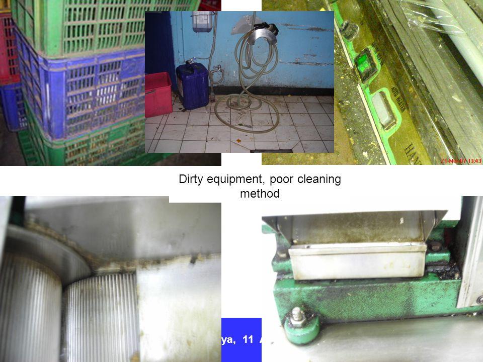 Surabaya, 11 April 2012 Dirty equipment, poor cleaning method