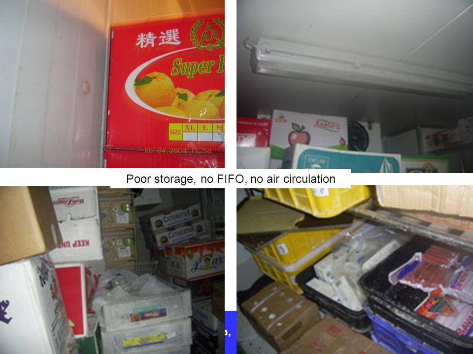 Poor storage, no FIFO, no air circulation
