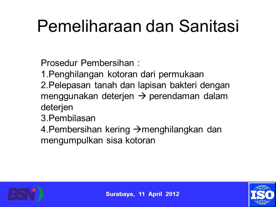 Surabaya, 11 April 2012 Pemeliharaan dan Sanitasi Prosedur Pembersihan : 1.Penghilangan kotoran dari permukaan 2.Pelepasan tanah dan lapisan bakteri d