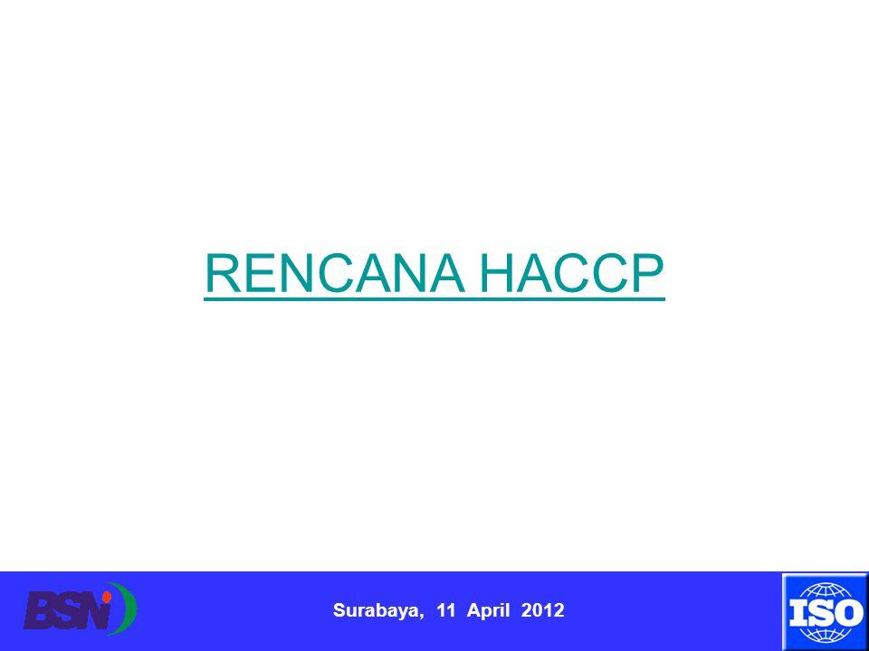 Surabaya, 11 April 2012 RENCANA HACCP
