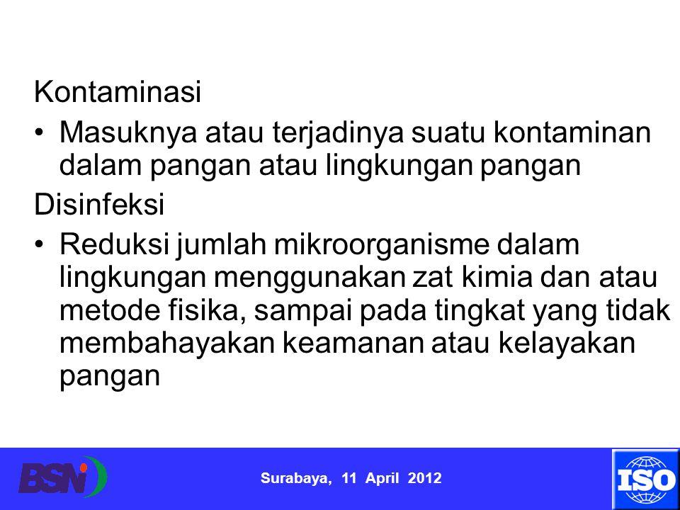 Surabaya, 11 April 2012 Kontaminasi Masuknya atau terjadinya suatu kontaminan dalam pangan atau lingkungan pangan Disinfeksi Reduksi jumlah mikroorgan