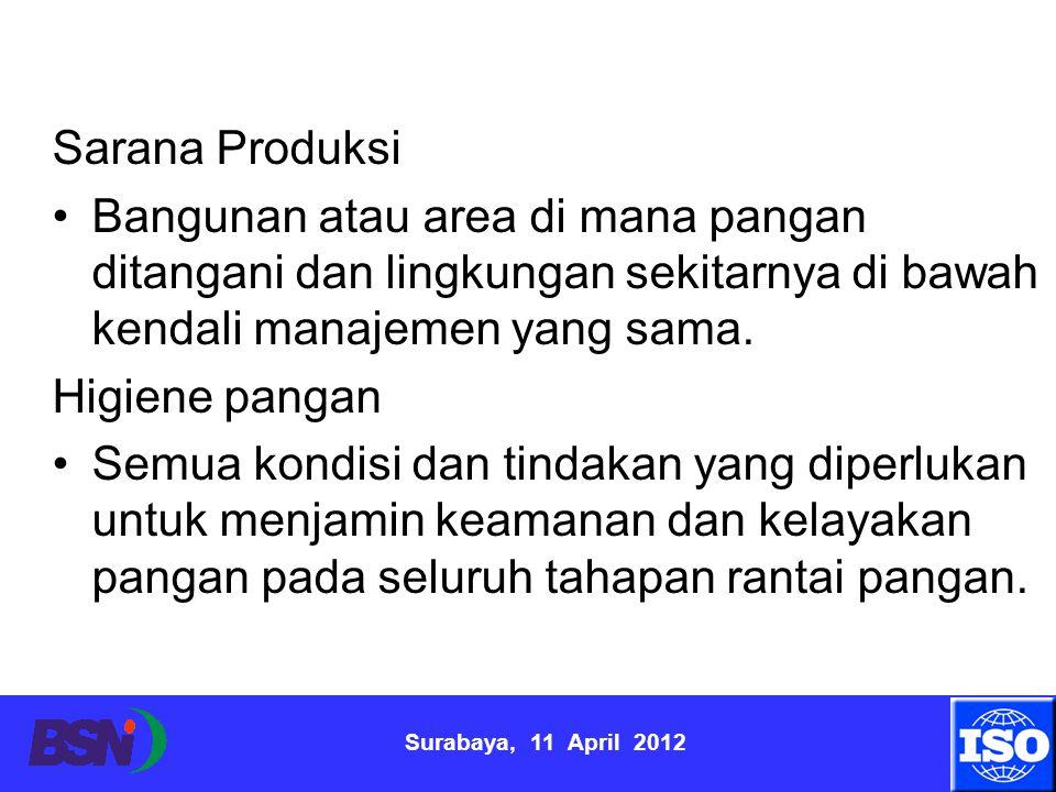 Surabaya, 11 April 2012 Sarana Produksi Bangunan atau area di mana pangan ditangani dan lingkungan sekitarnya di bawah kendali manajemen yang sama. Hi
